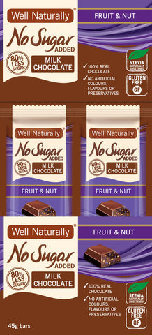 No Sugar Added Milk Chocolate - Fruit & Nut x16