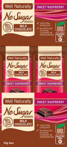 No Sugar Added Milk Chocolate Sweet Raspberry 45g x 16