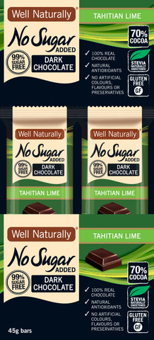 No Sugar Added Dark Chocolate Tahitian Lime 45g x 16