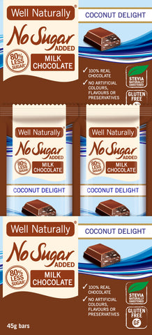 No Sugar Added Milk Chocolate – Coconut Delight x 16