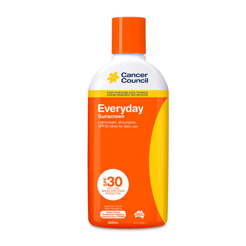 Cancer Council Everyday SPF 30+ Sunscreen 220ml Bottle