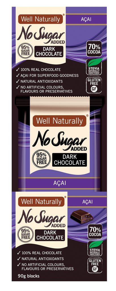 No Sugar Added Dark Chocolate - Acai 90g x12