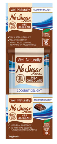 No Sugar Added Milk Chocolate - Coconut Delight 90g x12