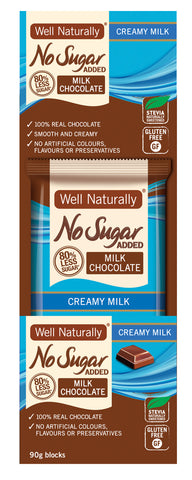 No Sugar Added Milk Chocolate - Creamy Milk 90g x 12