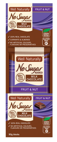 No Sugar Added Milk Chocolate - Fruit & Nut 90g x 12