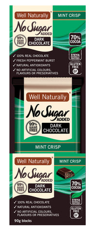 No Sugar Added Dark Chocolate - Mint Crisp 90g Blocks x12