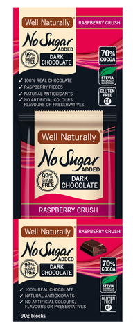 No Sugar Added Dark Chocolate Raspberry Crush 90g x 12