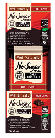 No Sugar Added Dark Chocolate - Rich Dark 90g x12