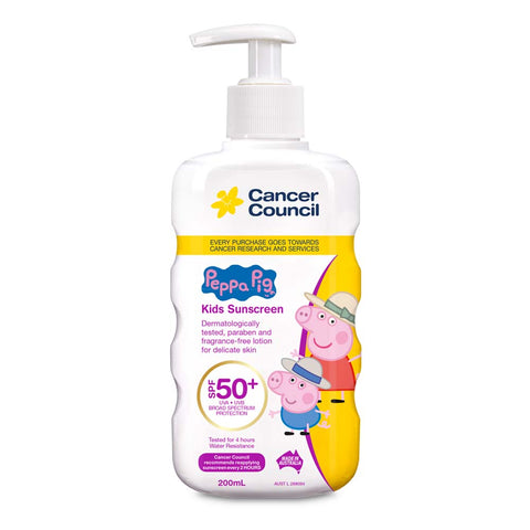 Cancer Council Peppa Pig Kids SPF 50+ Sunscreen 200ml Finger Pump