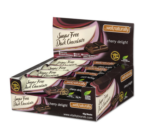 No Sugar Added Dark Chocolate - Cherry Delight x16