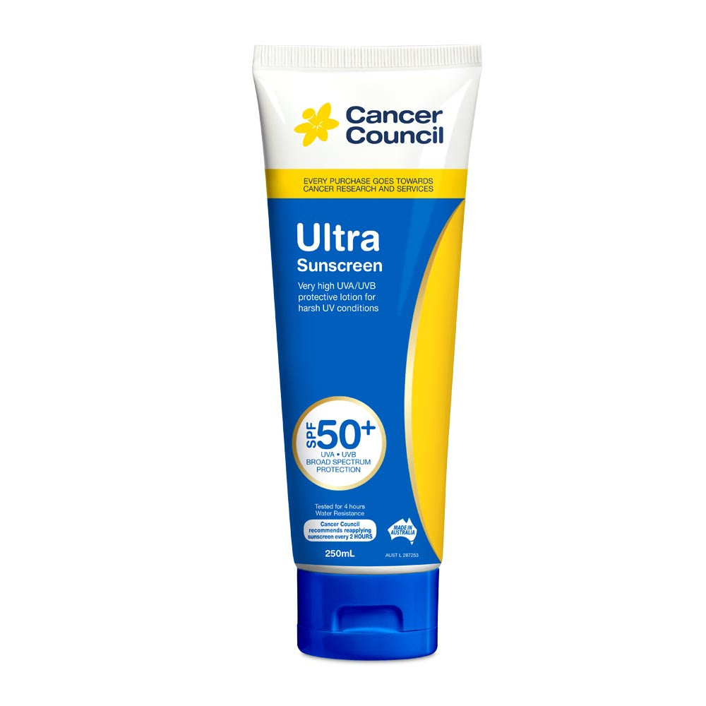 Cancer Council Ultra SPF 50+ Sunscreen 250ml Tube