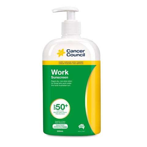 Cancer Council Work SPF 50+ Sunscreen 500ml Pump