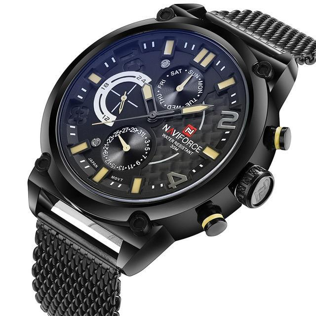 Naviforce Chrono Stainless Steel Mash Band