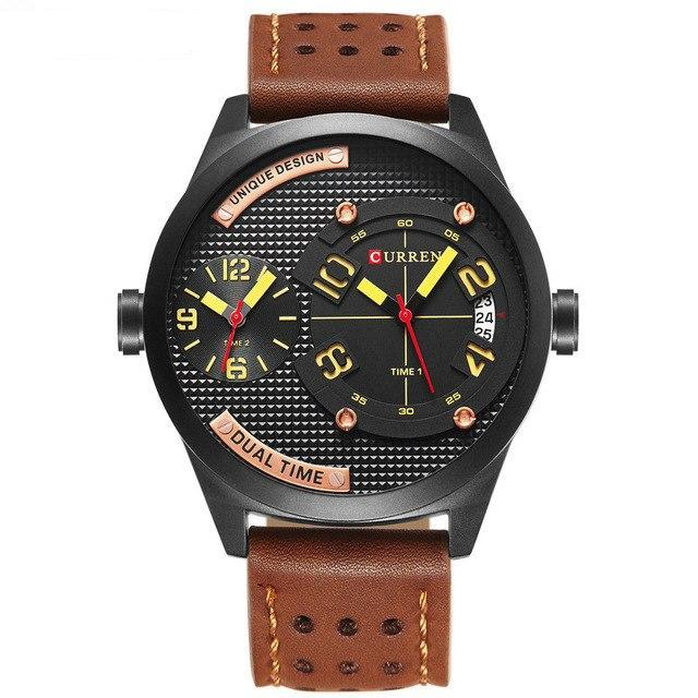 Curren Dual Time Quartz Leerband