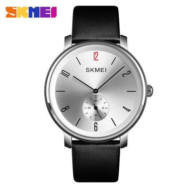 SKMEI Fashion Couple Quartz Watch Casual Ladies Men Watch 30M Waterproof Luxury Leather Strap Wristwatch Relogio Feminino 1398