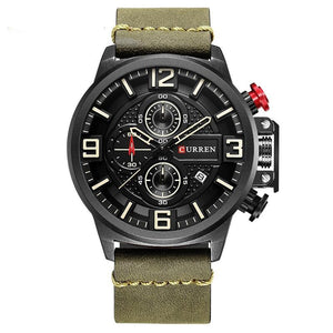 Curren Army Leerband  Waterdicht 3 Bar Quartz