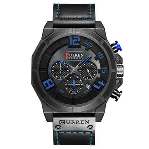 Curren Chronograaf Heren Horloge Waterdicht 3 Bar  Quartz Leerband