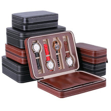 Afbeelding in Gallery-weergave laden, PU Leather Watch Box Storage Showing Watches Display Storage Box Case Tray Zippere Travel Jewelry Watch Collector Case