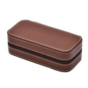 PU Leather Watch Box Storage Showing Watches Display Storage Box Case Tray Zippere Travel Jewelry Watch Collector Case