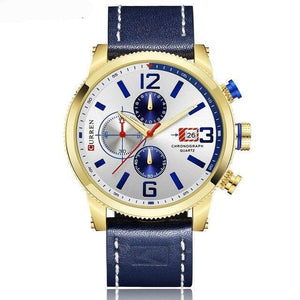 Curren  Relojes Wristhorloge Leerband Quartz 3 Bar