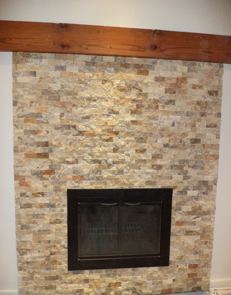 Another Fireplace Tile Installation 2x4 Multicolor Mosaic