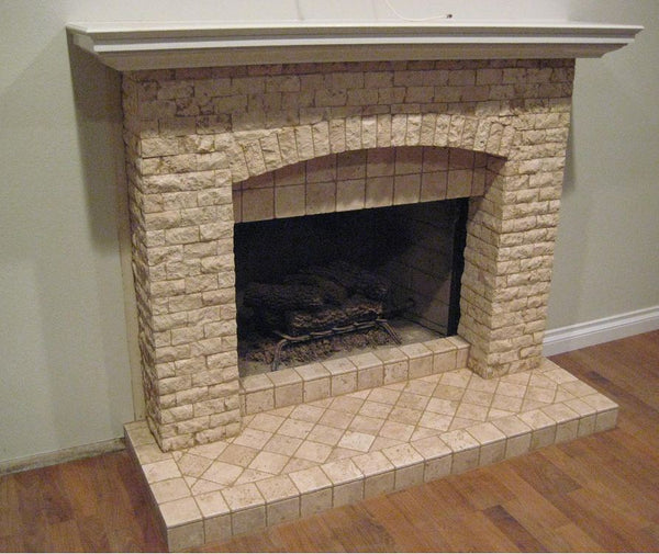 2x4 fireplace tile cream color natural stone home decor mosaic posted by eric sanders on december 28 2012 2 comments - Stone Tile Home Decorating