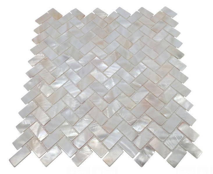 Genuine Premium Quality White Mother of Pearl Natural Sea Shell Herringbone Mosaic Tile by Tenedos - Free Shipping