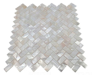 Genuine Premium Quality White Mother of Pearl Natural Sea Shell Herringbone Mosaic Tile by Tenedos
