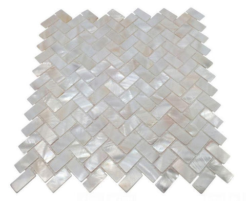 Vogue Tile Genuine Premium Quality White Mother of Pearl Natural Sea Shell Herringbone Mosaic Tile