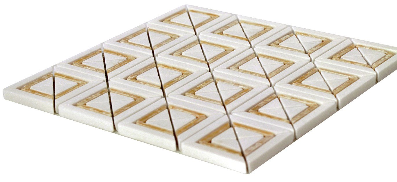 Bright White and Honey Matte X Styles Stone Square Marble Mosaic Tiles