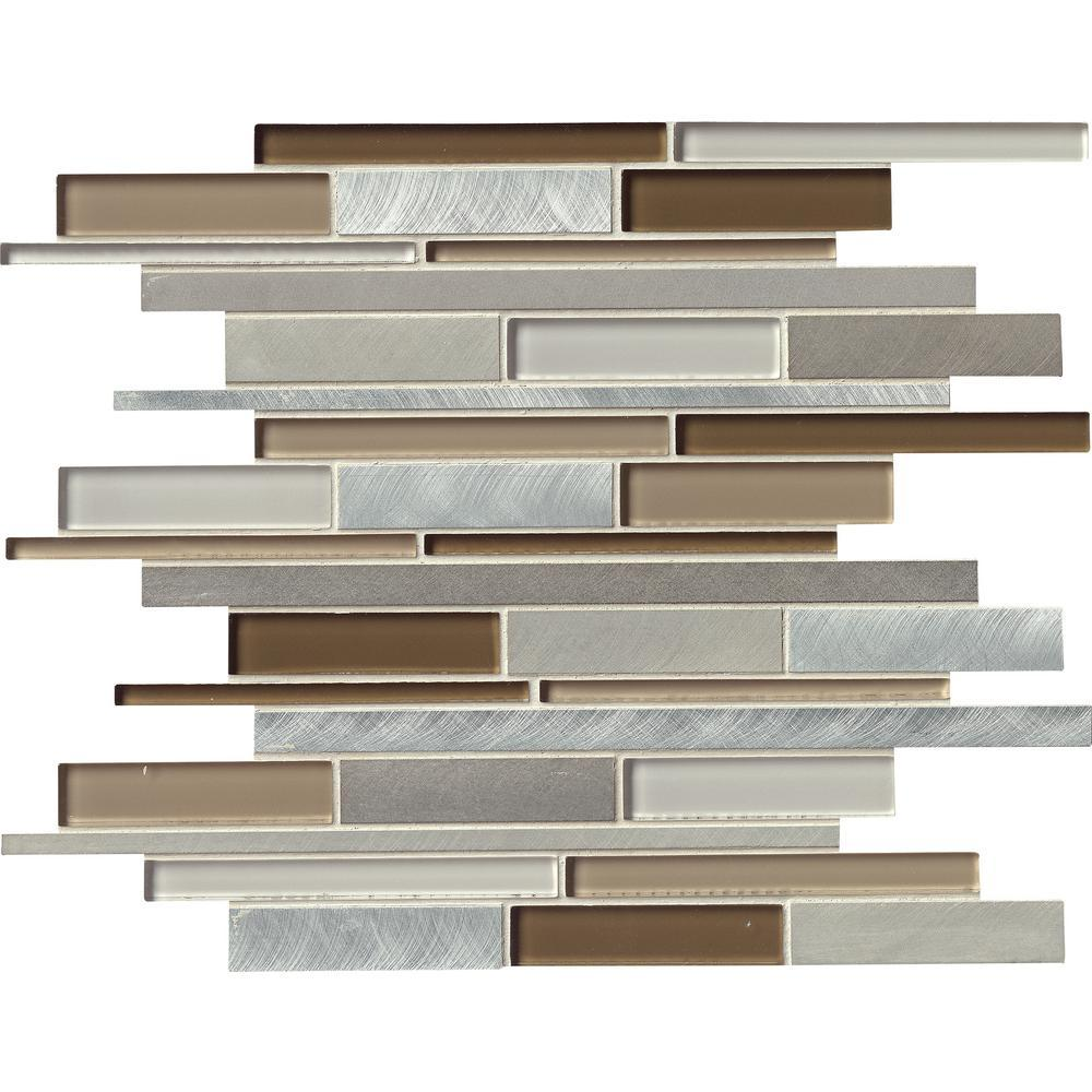 MS International Madison Avenue Interlocking 12 in. x 12 in. x 8 mm Glass Metal Mosaic Wall Tile