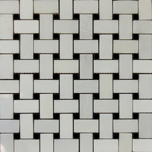 Cream White Basketweave with Black Dots Stone Tile Mosaic Collection