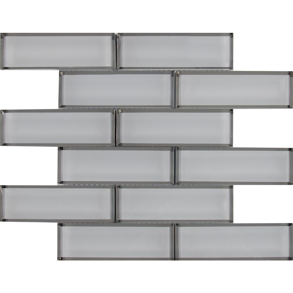 MSI Ice Bevel Subway 11.73 in. x 11.73 in. x 8mm Glass Mesh-Mounted Mosaic Tile