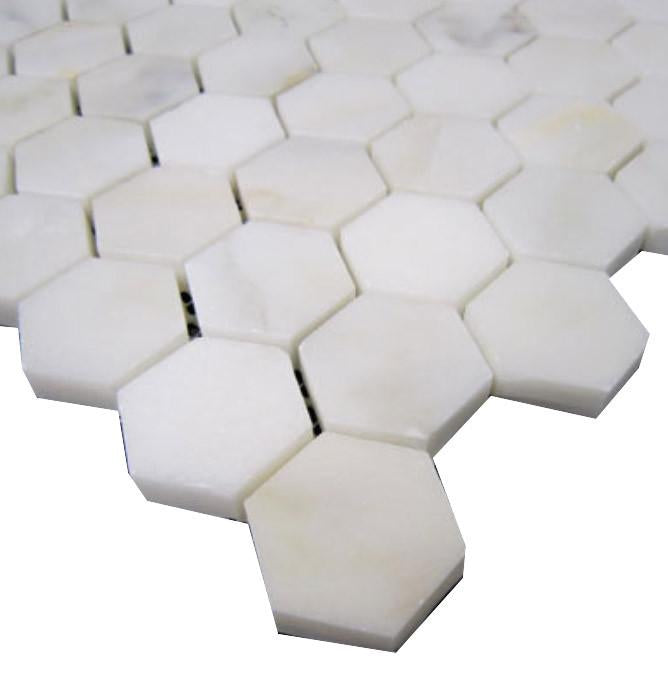 "Calacatta Gold Italian Marble 1"" Hexagon Mosaic Tile for Bathroom and Kitchen Walls Kitchen Backsplashes (Free Shipping)"