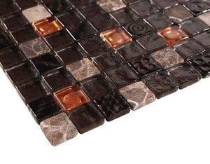 Glossy and Matte Black Fire Rock Square Stones Porcelain Mosaic Tiles