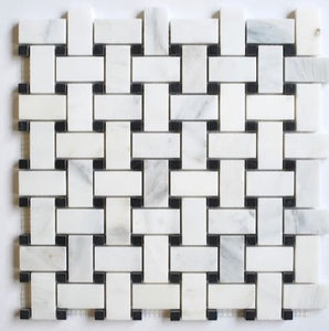 Carrara Basketweave Mosaic with Black Marble Dots  Honed