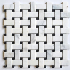 "1.2""x2 Honed Carrara Basketweave Mosaic with Black Marble Dots"