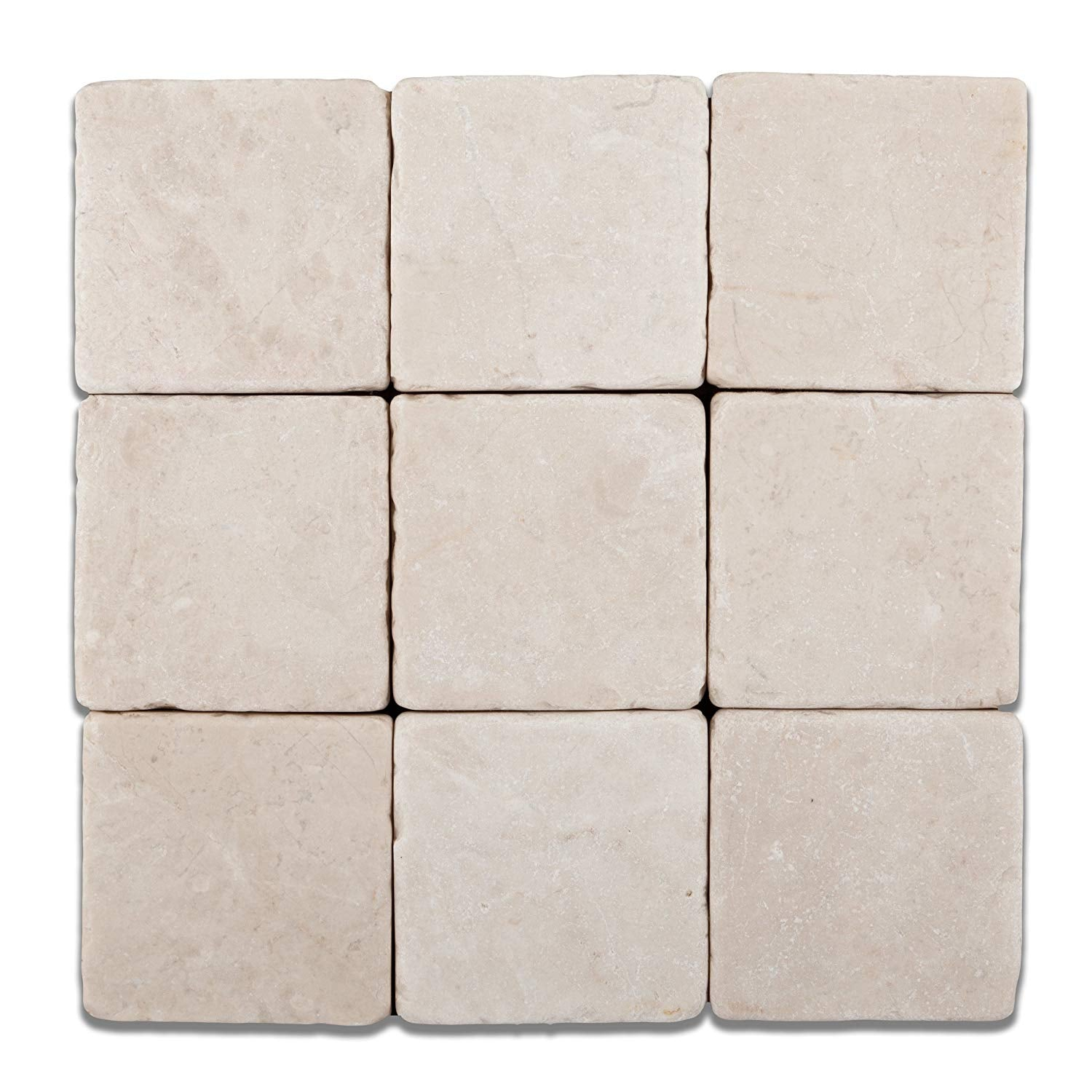 Turkish Crema Marfil Marble 4 X 4 Tumbled Field Tile -