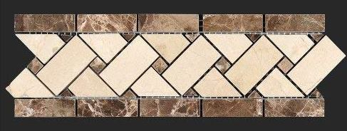 Crema Marfil Polished Marble - La Crema Basket Weave Border 3 3/4x12
