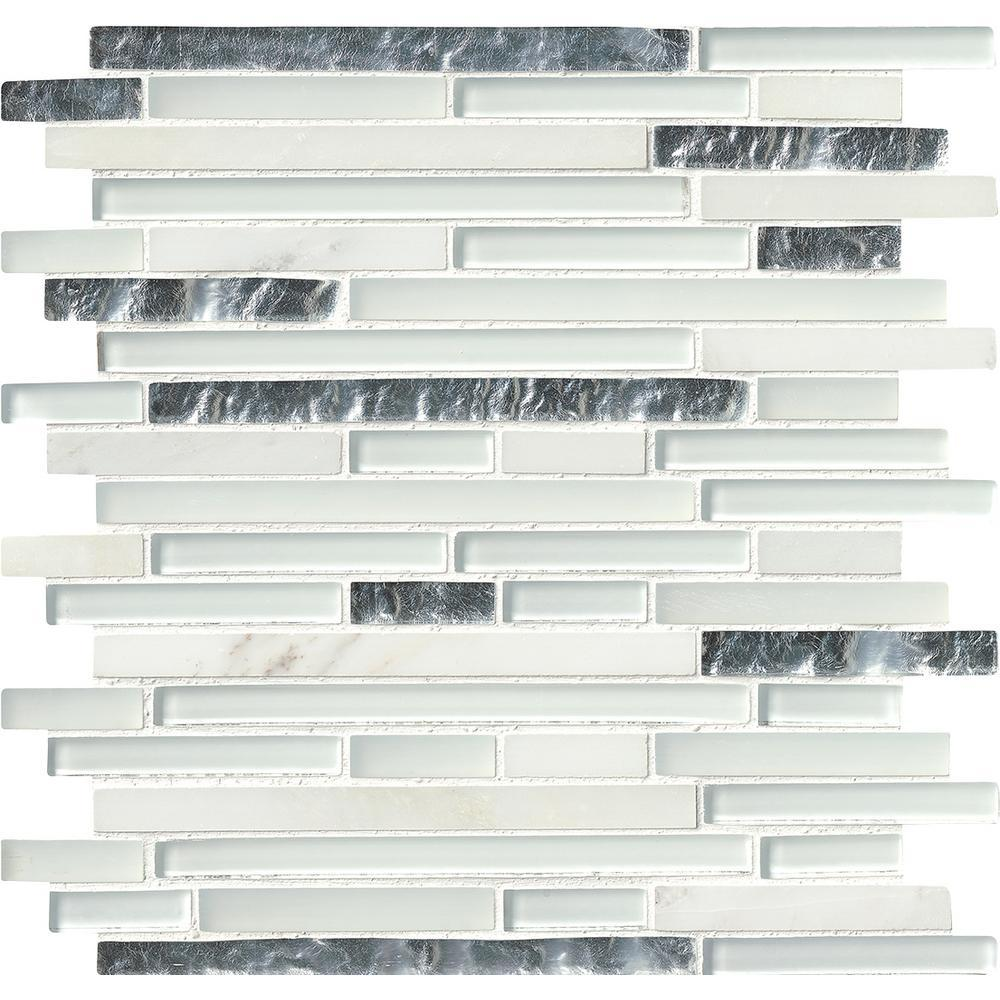 MS International Cristallo Interlocking 12 in. x 12 in. Glass/Stone Mesh-Mounted Wall Tile