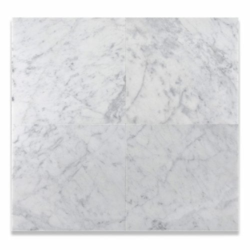 "12"" X 12"" Bianco Carrara White Marble Honed Field Tile - Lot of 50 sq. ft."