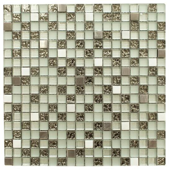 Fancy and Shiny with Stainless Steel Square Glass Mosaic Tile