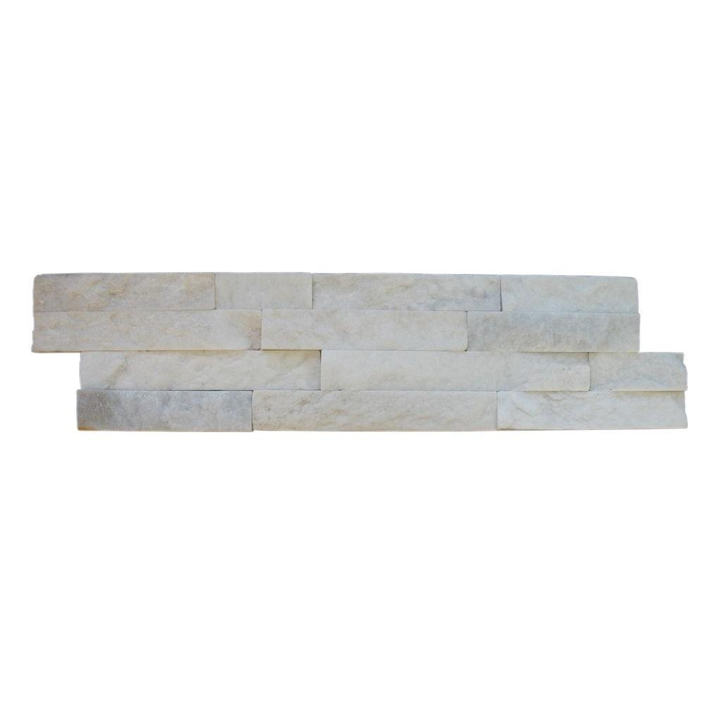 MS International Arctic White Ledger Panel 6 in. x 24 in. Natural Marble Wall Tile (10 cases / 60 sq. ft. / pallet)