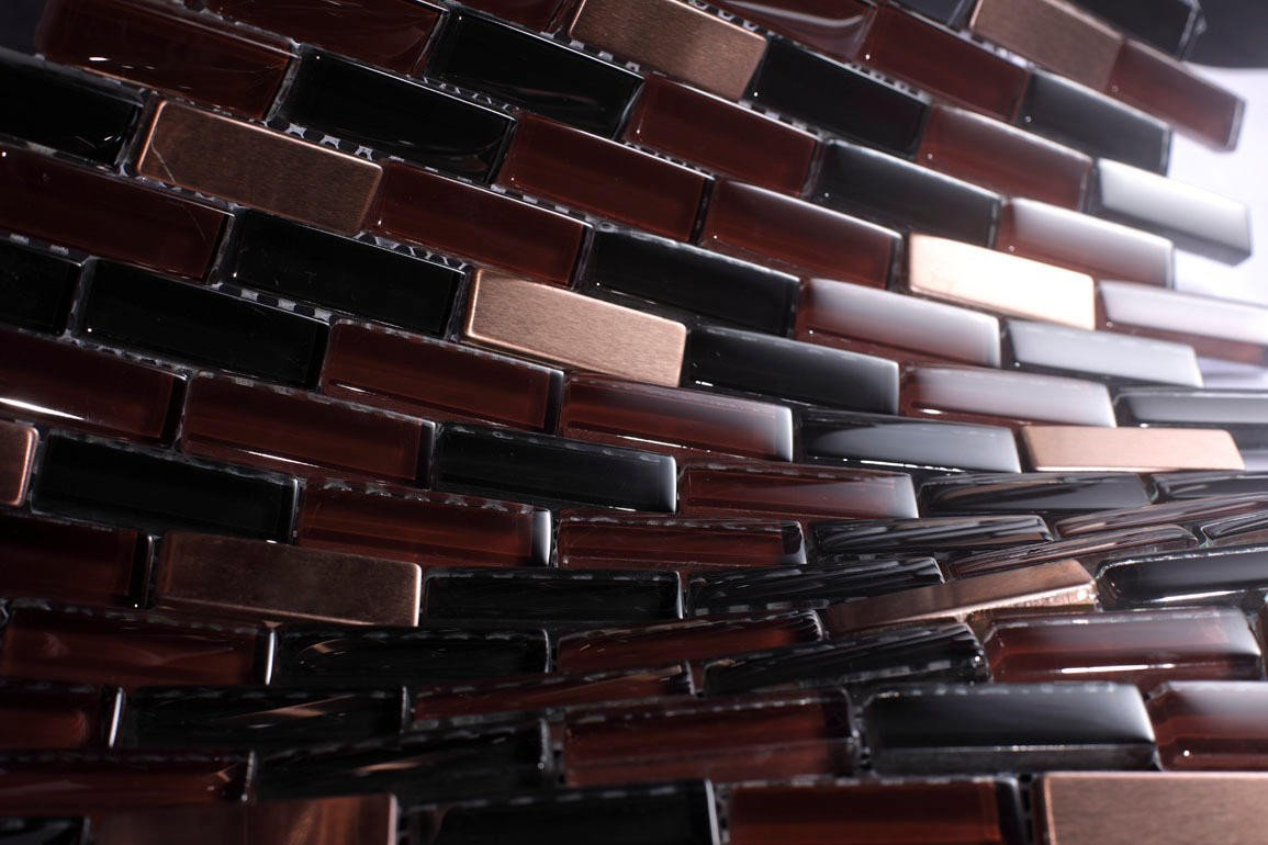 Glossy and Matte Black Blood Subway Glass Mosaic Tiles