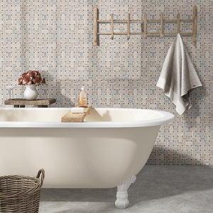 MSI Angora Basketweave Polished Marble Mesh-Mounted Mosaic Tile