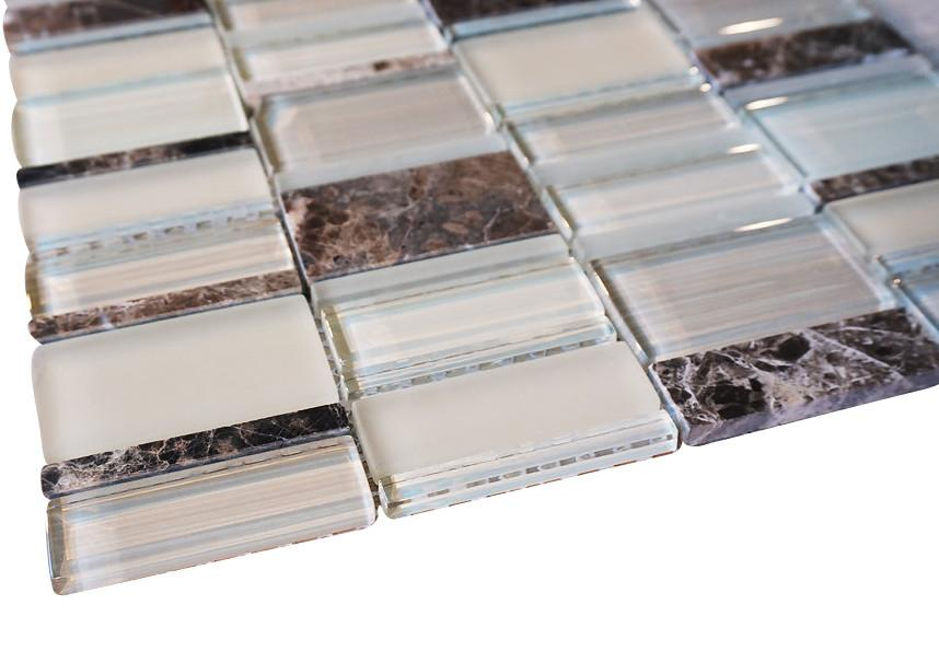Glossy and Matte Off White With Dark Emperador Random Brick Rectangle Glass Mosaic Tiles