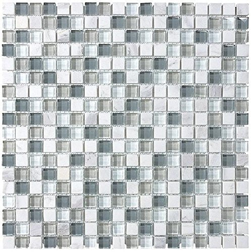 10 Square Feet - Bliss Iceland White Marble and 5/8x5/8 Glass Mosaic Tiles - For Kitchen Backsplash or Bathrooms