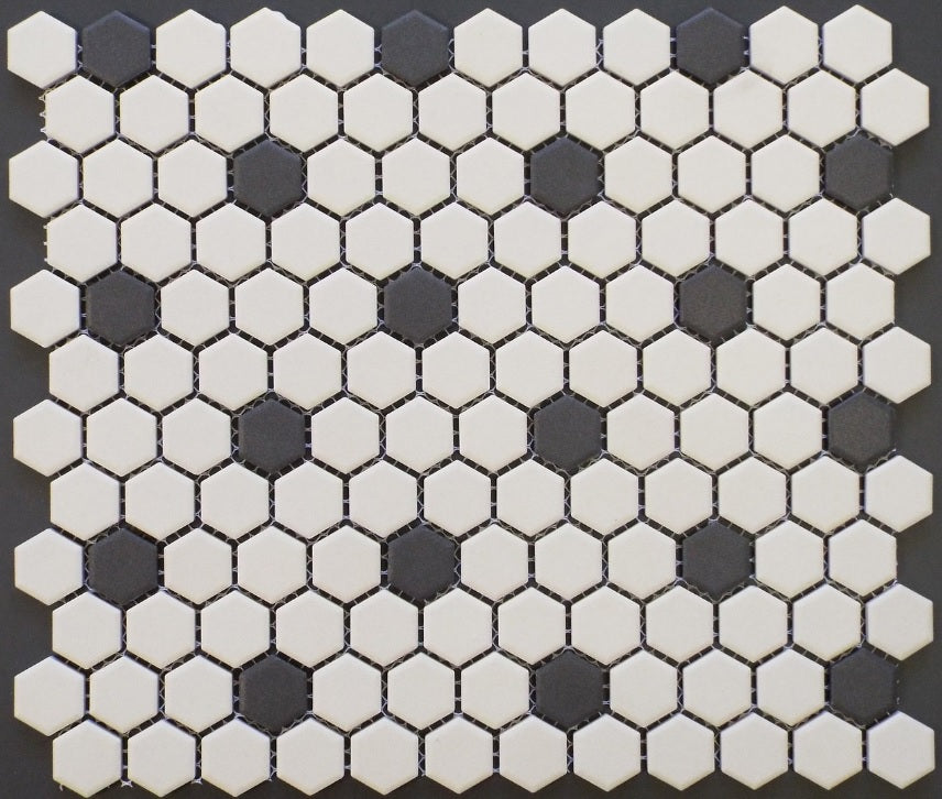 Vogue Rosette Pattern Unglazed Porcelain Mosaic Tile White with Black Dots Designed in Italy