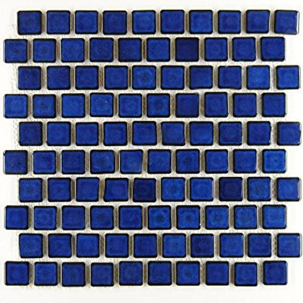 "Vogue Premium Quality 1-1/8"" x 1-1/8"" Cobalt Blue Brick Pattern Porcelain Mosaic Tile on Mesh on 12x12 sheet, Designed in Italy - Free Shipping"