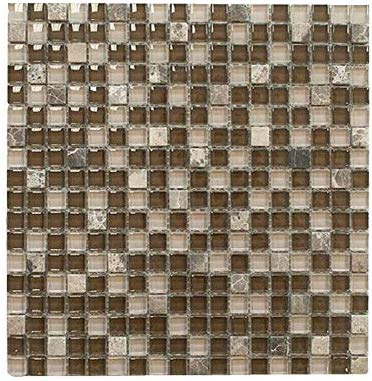 Brown with Dark Emperador Square Glass Mosaic Tile for Bathroom and Kitchen Walls Kitchen Backsplashes By Vogue Tile - FREE SHIPPING